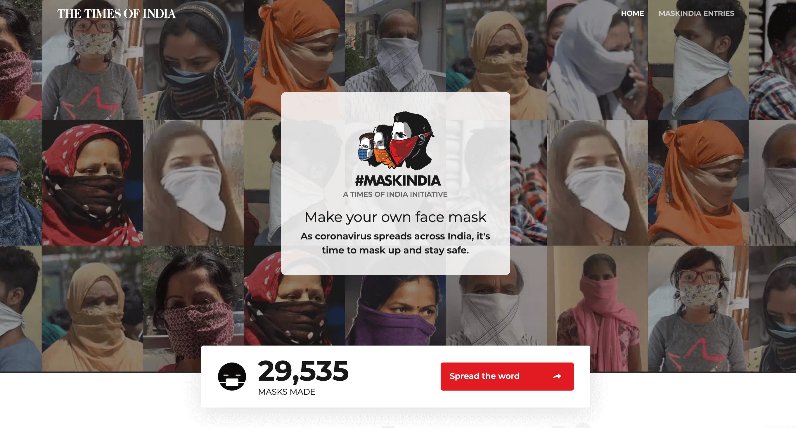 インド ロックダウン マスクキャンペーン